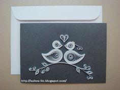 Quilled love birds wedding card