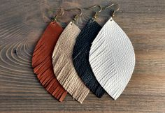 Feather Earrings - One Side Fringed Leather Earrings - Big Earrings - Leather Dangle Earrings