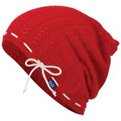 Women's Keds Open-Work Chevron Slouchy Beanie ($30) ❤ liked on Polyvore featuring accessories, hats, red, beanie hat, slouch beanie hats, red slouchy beanie, logo beanie hats and red beanie