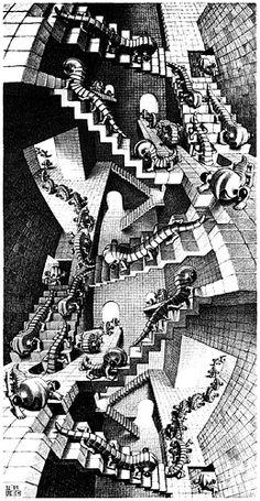 'Treppe', lithographie von Maurits Cornelis Escher (1898-1972, Netherlands)