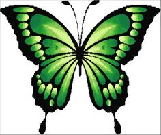 Blackwork Cross Stitch, Cross Stitch Charts, Cross Stitch Embroidery, Embroidery Patterns, Cross Stitch Patterns, Cross Stitches, Purple Painting, Butterfly Cross Stitch, Green Butterfly