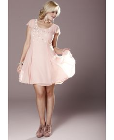 Pink beaded fit-n-flare dress from SimplyBe.com