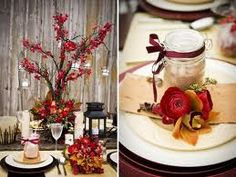 I love the picture on the left - the deep red with the brown. vintage/modern mix with simple elegance Rustic Red Wedding, Rustic Wedding Showers, Rustic Wedding Dresses, Fall Wedding, Wedding Blog, Wedding Ideas, Wedding Shower Centerpieces, Holiday Centerpieces, Winter Table