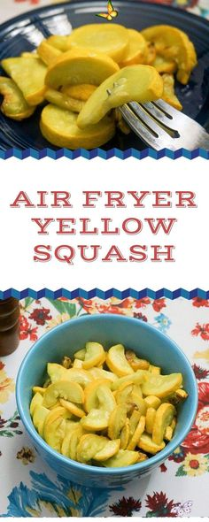 Air Fryer Yellow Squash   Grace Like Rain Blog Air Fryer Yellow Squash<br> Air Fryer Yellow Squash is a quick and easy side dish that is perfect in the Air Fryer. The squash turns out flavorful and tender and you don't have to stand over a hot stove to make it happen. Win - Win! Cooking Yellow Squash, Yellow Squash Recipes, Summer Squash Recipes, Cooking Squash, Air Fryer Oven Recipes, Air Fry Recipes, Healthy Recipes, Air Fryer Recipes Squash, Air Fryer Recipes Vegetables