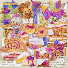 Sweet Treats Illustrations #sweettreatsillustrations #sweettreatscollection #sweettreats #dawninskip #scrapbookgraphics #artjournal #memories #mixedmedia #biscuits #pastries #cake #sweets #colour #creative