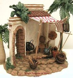 Introduced in 1996 - Village Nativity Building. This is One of Fontanini's Nativity Accessories from Roman Inc Made to Enhance and Add to the Realism of Any Nativity Display. Christmas Crib Ideas, Christmas Time, Christmas Crafts, Miniature Fairy Gardens, Miniature Houses, Clay Crafts, Diy And Crafts, Fontanini Nativity, Vitrine Miniature