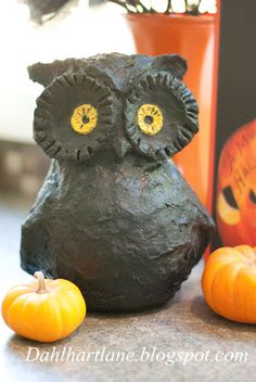 How to make a paper mâché owl.  Great tutorial