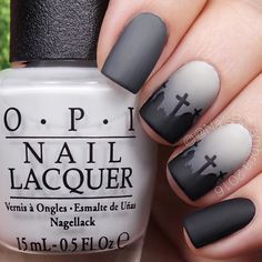 Matte gray-veyard nails for day 3 of #31daysofhalloweennailsbycambria Get it? Tutorial will be up today! @opi_products I Cannoli Wear OPI Black Onyx and Matte Top Coat @chinaglazeofficial Recycle and Concrete Catwalk @twinkled_t Clean Cuticle Peel Off Tape and #6 Cleanup Brush | 10% off with code CAMBRIA @whatsupnails Graveyard stencils