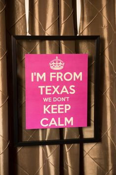"""Laura   Clint at Hotel Zaza   Two Be Wed - Custom """"Keep Calm"""" signage as an ode to bride's love of London, Strawberry, Fuchsia and Magenta Color palette Photograpy: Love Lee Photography, Floral:Tamara Menges Designs, Stationary:Wedding Paper Divas"""