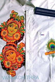 Varnachithra Sarees: NEW DESIGNS Kerala Mural Painting, Buddha Painting, Krishna Painting, Dress Painting, Fabric Painting, Fabric Art, Saree Painting Designs, Fabric Paint Designs, Kalamkari Painting