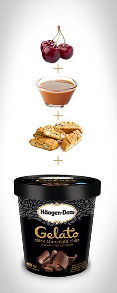 Häagen-Dazs Dark Chocolate Chip Gelato with Biscotti. #Recipe #IceCream #HaagenDazs