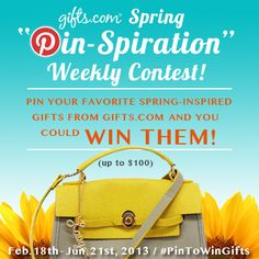 Here's our latest Pin to Win Weekly Contest! Get into the Spirit of Spring & Win http://blog.gifts.com/giveaways/spring-pin-spiration-pinterest-contest