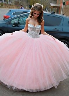 Blush Pink Quinceanera Ball Gowns 2015 New Sweetheart Rhinestones Beaded Corset Puffy Tulle Girls Sweet 16 15 Long Prom Dresses