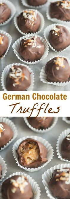 German Chocolate Truffles German Chocolate Truffles - coconut pecan german chocolate filling rolled into bite-size balls and dipped in chocolate. Köstliche Desserts, Delicious Desserts, Dessert Recipes, German Desserts, Fudge Recipes, Plated Desserts, Chocolate Filling, Chocolate Truffles, Chocolate Brownies