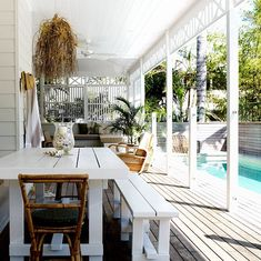 A little bit of wishful thinking and a whole lot of renovating know-how came together in this charming Byron Bay beach house renovation. Outdoor Areas, Outdoor Rooms, Outdoor Tables, Outdoor Living, Outdoor Furniture Sets, Outdoor Decor, Byron Bay Beach, Gazebo, Pergola