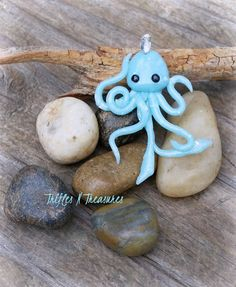 Faux Opal Glow in the Dark Polymer Clay Squidlet Pendant/Charm~Pale Turquoise by TNTPatterns on Etsy