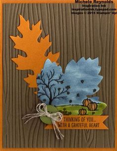 Handmade thank you card using Stampin' Up! products - Happy Scenes Photopolymer Stamp Set, Woodgrain Embossing Folder, Leaflets Framelits, Designer Buttons, Linen Thread, Sponge Daubers, and Bitty Banners Framelits.  By Michele Reynolds, Inspiration Ink.  #stampinup #inspirationink #happyscenes