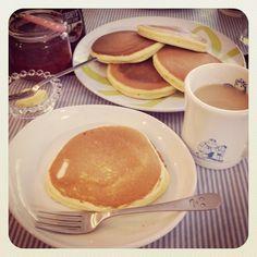 今日のランチ。パンケーキ!ホットケーキミックスはお手製( ´ ▽ ` )フワフワ☆ - @yotchan_s22- #webstagram