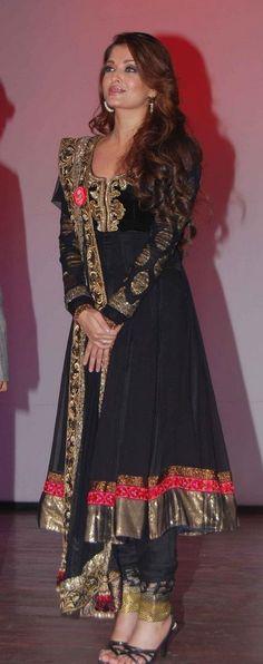 Aishwarya-rai-Black-and-Anarkali-Designer suits for women India Fashion, Fashion Week, Asian Fashion, Mangalore, Indian Attire, Indian Wear, Indian Style, Pakistani Outfits, Indian Outfits