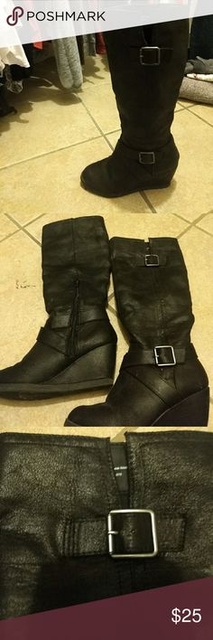Black wedge boots Like new. No scuffs or signs of wear. A little dusty from sitting on closet shelf! I bough in MN but really don't wear boots much out in AZ. Black with a brushed leather look. Mossimo Supply Co. Shoes Heeled Boots