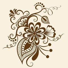 Abstratas do vetor elementos florais em estilo indiano mehndi Ilustração                                                                                                                                                                                 Mais
