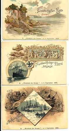 THREE RARE POSTCARDS FROM 1899, DEPICTIONS OF  'NORDDEUTSCHER LLOYD' THE (NDL, OR North German Lloyd) was a German STEAMSHIP LINE OUT OF BREMEN, GERMANY, Friedrich der Grosse IS IMPRINTED AT THE BOTTOM OF EACH CARD, THIS is the German name for Frederick the Great, a ruler of Prussia. It is also the name of a number of German-built ships, PERHAPS THIS WAS FOR THE 'SS Friedrich der Grosse', A STEAMSHIP,  (COMMISSIONED IN 1896): A civilian passenger ship: