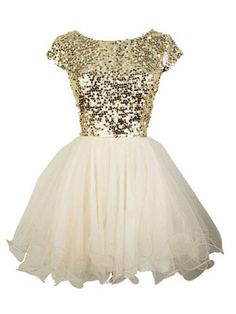 Glittery Gold And White dress will help you show off your Georgia Tech spirit at any fancy occasion.