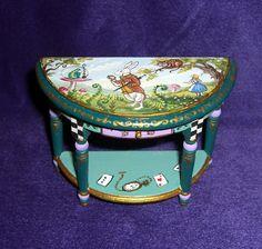 Dollhouse Miniature Painted Alice Wonderland Demilune Table Fairytale L.Lassige