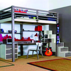 """Cool Loft Bed Design Ideas for Small Room 24 - Rockindeco - Exceptional """"bunk bed ideas for small rooms"""" detail is readily available on our internet site. Cool Loft Beds, Bunk Beds Small Room, Bunk Bed With Desk, Double Bunk Beds, Modern Bunk Beds, Bunk Beds With Stairs, Kids Bunk Beds, Small Rooms, Space Saving Beds"""
