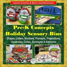 """Happy Holiday's TpT Friends & Visitors! This is a super cute holiday-themed interactive activity packet. It includes seven different ways to target Pre-K concepts. They are """"feed me"""" or insert pages that make wonderful additions to any sensory bin so that tactile play can be used along with interactive and fun learning for"""