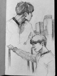 Cool Sketches, Drawing Sketches, Nature Sketch, Kpop Drawings, Dibujos Cute, Korean Art, Bts Chibi, Kpop Fanart, Art Sketchbook