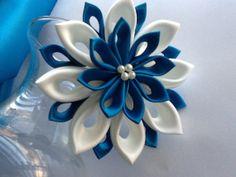 Hair Clip - Teal Blue, Peacock Blue, Ivory Kanzashi Flower $20.00 USD