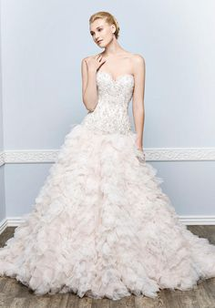 Organza ball gown with sweetheart neckline and ruffled skirt | Kenneth Winston | https://www.theknot.com/fashion/1653-kenneth-winston-wedding-dress