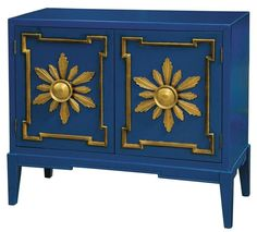 Hall chest vibrant blue gold sunburst handles Accentrics Home  by Pulaski | The Decorating Diva, LLC