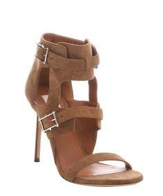 Valentino taupe suede 'Hitch On' buckle detail monk strap stiletto heels