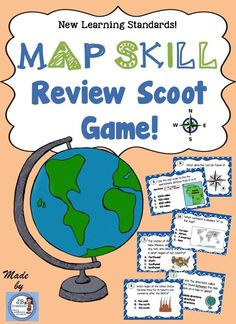 Review key map skills in a fun, interactive way! Students will scoot through 24 map skill stations to demonstrate their knowledge on map scale, relative location, cardinal & intermediate directions, US regions, map legends, continents & oceans, and much more! https://www.teacherspayteachers.com/Product/Map-Skill-Scoot-An-interactive-map-skill-activity-for-intermediate-grades-2102874