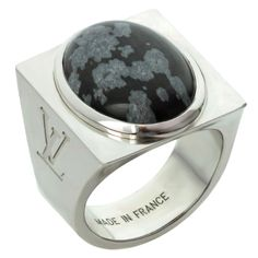 LOUIS VUITTON Snowflake Collection Silver Obsidian Ring
