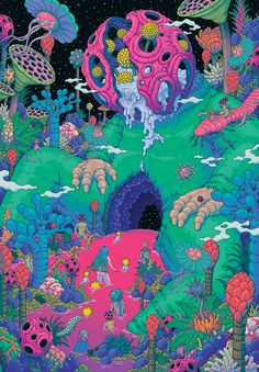 From the massive to the microscopic, Bang Sangho illustrates the cosmic primordial soup Trippy Drawings, Psychedelic Drawings, Art Drawings, Psychedelic Pattern, Hippie Wallpaper, Trippy Wallpaper, Acid Wallpaper, Art And Illustration, Arte Inspo