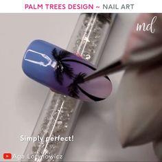A much needed summer nail art inspiration by Aga Lorynowicz Pastel Nail Art, Nail Art Diy, Cool Nail Art, Nail Art Designs Videos, Nail Art Videos, Nail Designs, Palm Tree Nail Art, Nails With Palm Trees, Nail Disorders