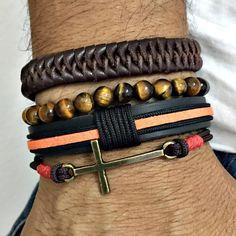 kit 4 pulseiras masculinas couro  olho de tigre e crucifixo bracelet man men's fashion