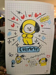 Chimmy is a cute doll 🤗 Bullet Journal Art, Bullet Journal Ideas Pages, Bullet Journal Inspiration, Bts Book, Kpop Drawings, Line Friends, Bts Chibi, Bts Photo, Jimin