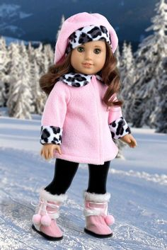 Elegance - American Girl Doll Pink Winter Coat, Hat, Black Pants, Sherpa Boots…