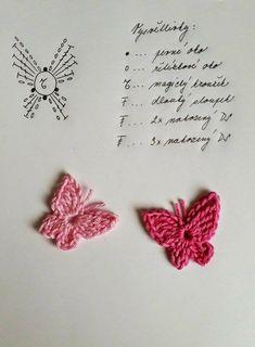 Tohoto motýlka jsem si kdysi dávno vytiskla z netu, bohužel už nevím kde. Crochet Butterfly Pattern, Crochet Applique Patterns Free, Crochet Earrings Pattern, Crochet Flower Tutorial, Crochet Diagram, Crochet Motif, Crochet Designs, Crochet Brooch, Diy Crafts Crochet