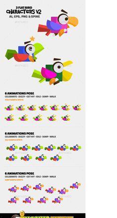 Flat Design Illustration, Design Illustrations, Project 3, Behance, Bird, Gallery, Check, Roof Rack, Birds