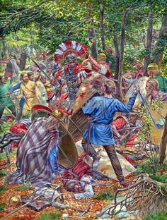 The battle of the Teutoburg forest 9 AD by Igor Dzis ~ a Roman Centurian is surrounded by Germanic tribesmen while all around him his cohorts are cut down.