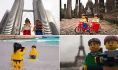Plastic fantastic: The LEGO couple who've travelled all over the globe.I think this is so cute my god, lol I'm do doing this one day if I go on a big trip Lego Pictures, Lego Boards, Lego Photography, Photography Ideas, My Sun And Stars, Holiday Pictures, Cool Lego, Lego Creations, Miniatures