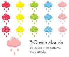 75% OFF SALE 30 colors rain clouds, rainy day, autumn, fall Digital Clipart…