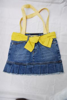 Upcycled yellow blue jean skirt bag by sewrosiedeez on Etsy, $20.00