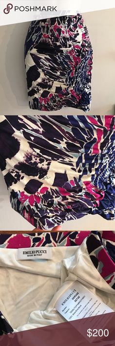 ❤️ 🆕 Emilio Pucci Stretch Drape Skirt Incredible Pucci skirt in shades of blue purple and fuchsia. Cream background. It's hard to capture the beautiful Roush detail in the skirt. In like new condition. S Emilio Pucci Skirts Pencil