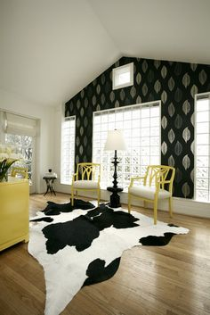 Cow Hide Rug Design Under Dining Table Like The Mix Of Black